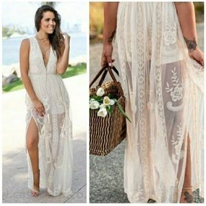 Wishlist Sleeveless Ivory Lace Maxi Romper Dress